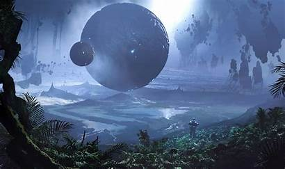 Sci Fi Planet Floating Island Wallpapers Plants