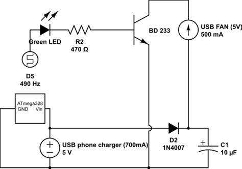 Usb Wiring Diagram 5v by Arduino Learning How My Circuit Works Pwm A 5v Usb Fan
