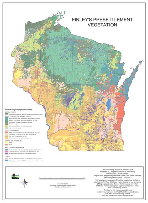 maps map vegetation historical area research plants thematic learning wis madison finley university native 1976