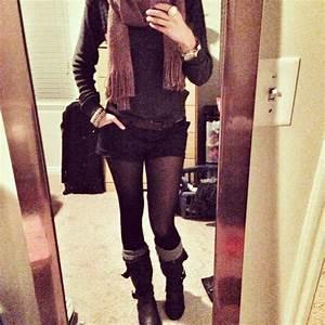 Long sleeve scarf shorts tights knee high socks mid calf ...
