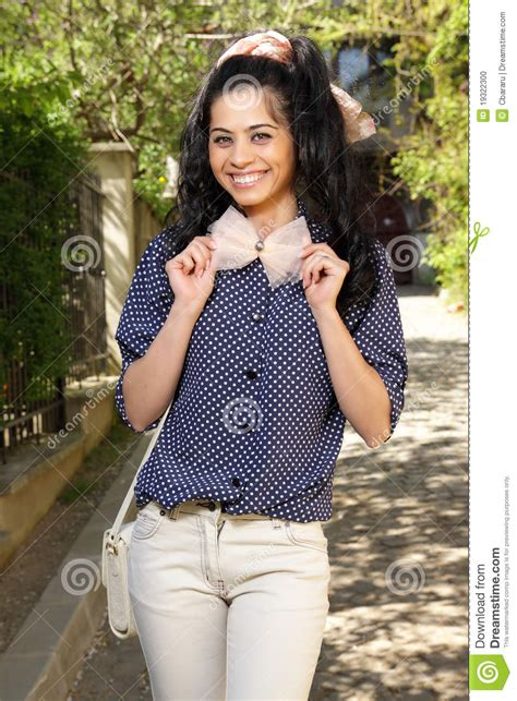 cute brunette  bow stock photo image