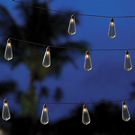 solar outdoor string lights outdoor solar 10 bulb string lights in clear bed bath