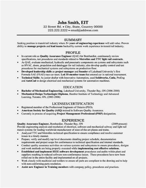 Quality Engineer Resume by Quality Engineer Resume Sle Pdf Resume Template
