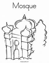 Mosque Coloring Masjid Drawing Getdrawings Temple Getcolorings sketch template