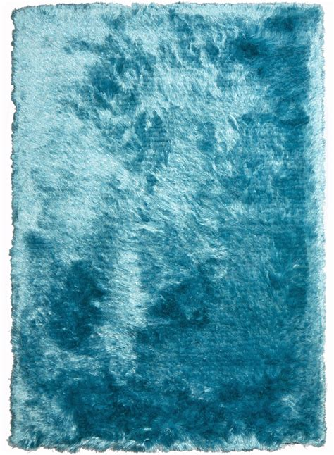 tapis longs poils shaggy fin turquoise de la collection