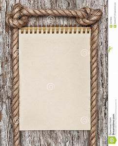 Rope, Paper Spiral Notebook And Wood Background Stock