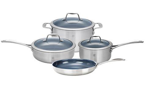 zwilling ja henckels spirit stainless steel ceramic nonstick cookware set  piece cutlery