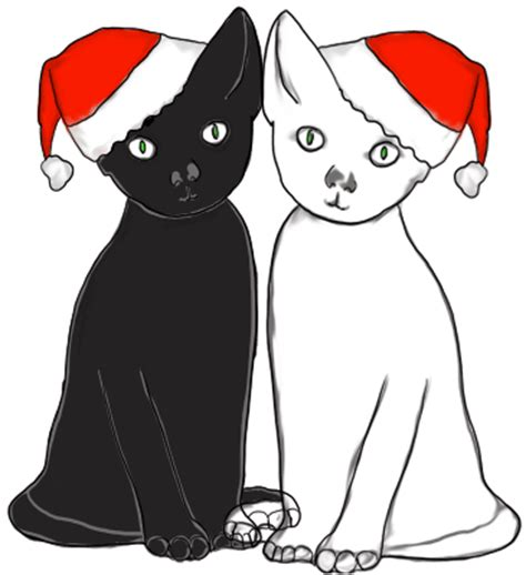Christmas Clip Art Black and White Cat