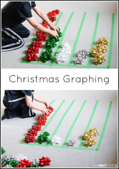 christmas math activity graphing  gift bows
