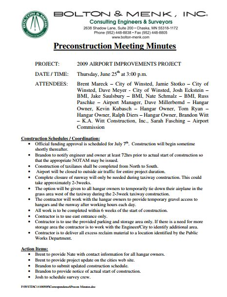 pre construction meeting templates  word