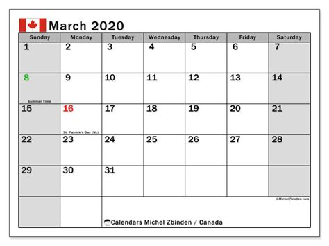 march  calendar canada michel zbinden en