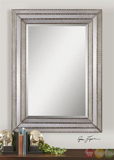 uttermost seymour mirror seymour stepped frame antiqued silver mirror 14465