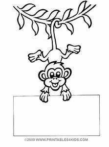 Monkey hanging coloring : Printables for Kids – free word ...