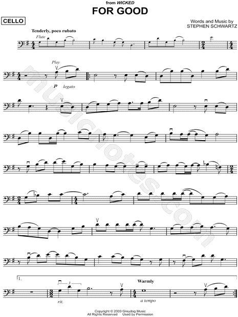 good  wicked sheet  cello solo