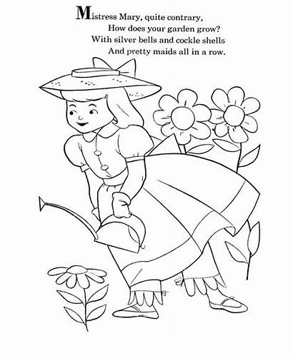 Nursery Coloring Rhymes Mary Goose Pages Mother