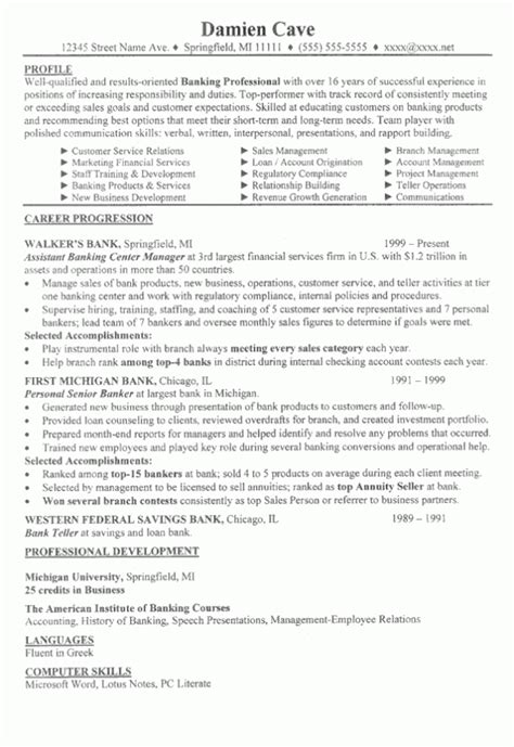 Resume Profiles Exles by Banking Sle Resume 171 Sle Resumes Net