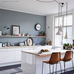 25 best collection of wall color for kitchen with white for Kitchen colors with white cabinets with color block wall art