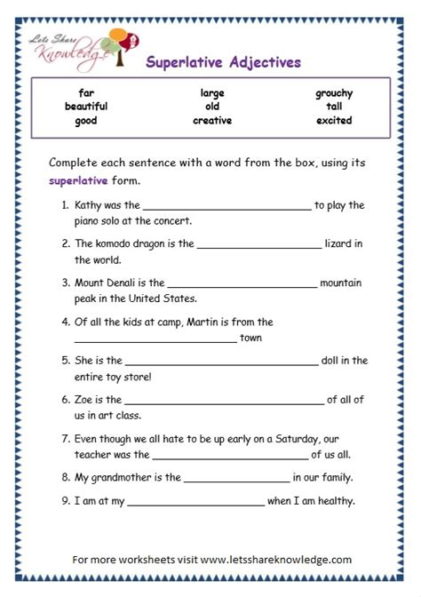 Grade 3 Grammar Topic 15 Superlative Adjectives Worksheets  Lets Share Knowledge