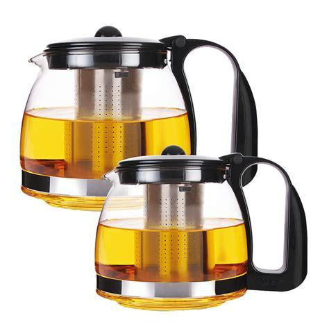 glas teekanne mit sieb glass jug lid strainer teebereiter glass teapot stainless steel strainer teegeschirr ebay