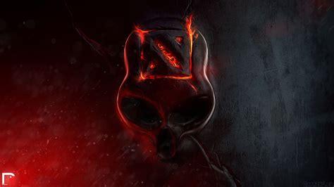wallpaper  dota  skull fire logo
