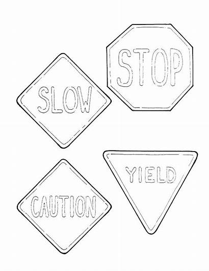 Coloring Road Signs Pages Stop Sign Printable