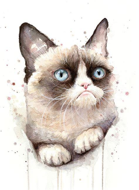 Grumpy Cat Watercolor Painting By Olga Shvartsur