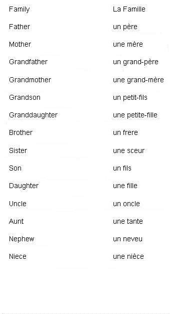 French Words for Family Members - Learn French | Basic ...