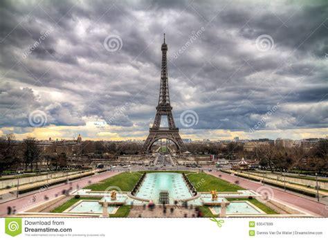 eiffel cloudy cityscape stock photo image