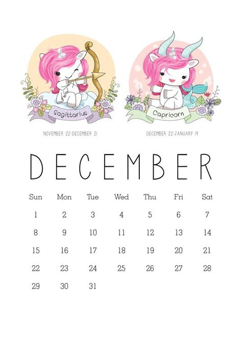printable zodiac sign kawaii unicorn calendar zodiac