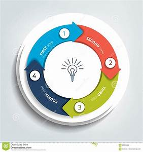 Circle  Round Divided In Four Parts Arrows  Template  Scheme  Diagram  Chart  Graph