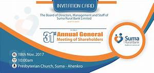 Notice Of 31st Annual General Meeting (AGM) - Suma Rural Bank