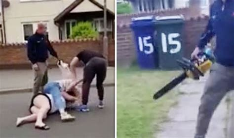 Watch Shocking Moment Man Threatens Neighbour With