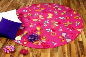 kinder spiel teppich schmetterling pink rund teppiche With balkon teppich mit esprit tapete schmetterling