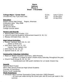 sle high school student resume for scholarships sle college resume 8 exles in word pdf