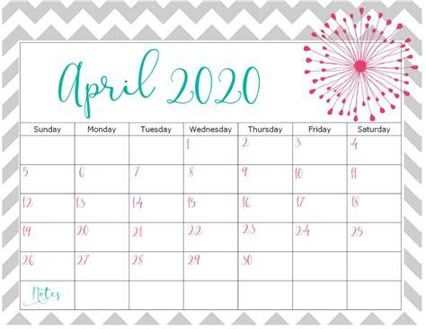 april  calendar  holidays printable template
