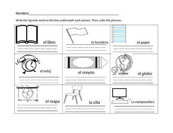 school objects worksheet for kindergarten kindergarten spanish classroom objects worksheet tpt