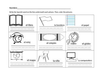 kindergarten spanish classroom objects worksheet tpt