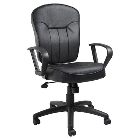 leather task chair with loop arms black office