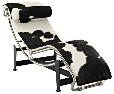 le corbusier style lc4 chaise in white and black pony hide