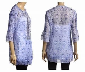 ELIE TAHARI Blue Print Silk JILLIE Blouse Top Tunic NWT MEDIUM 298 EBay
