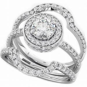 Ring Set Silber : 925 silver ladies 3 piece wedding engagement round halo bridal ring set ebay ~ Eleganceandgraceweddings.com Haus und Dekorationen