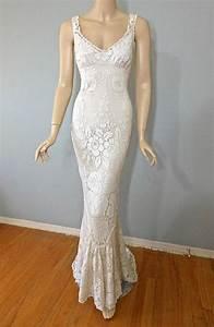 vintage style victorian wedding dress crochet ivory lace With crochet lace wedding dress
