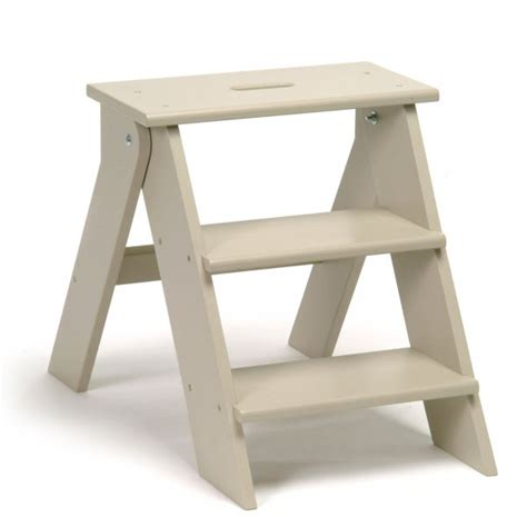 Wooden Step Stool Folding Kitchen Stool In Chalk