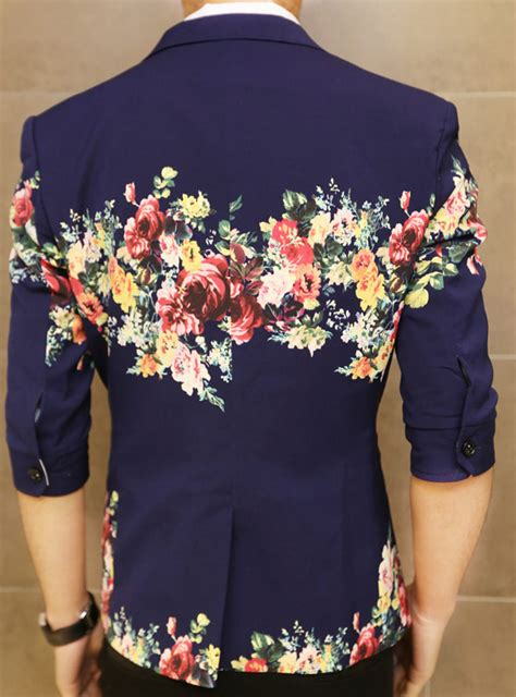 creative floral print navy blue  style short sleeve