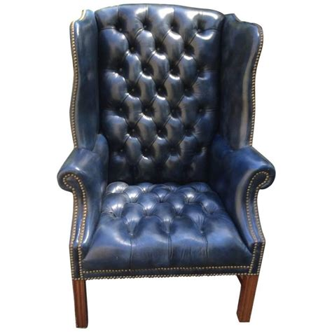 vintage wingback fabulous navy blue leather tufted wing chair at 1stdibs
