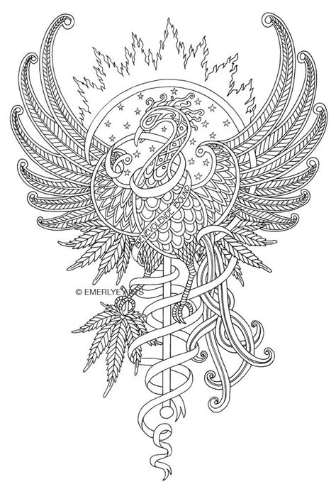 Outline pattrened phoenix on shining sun background tattoo design - Tattooimages.biz