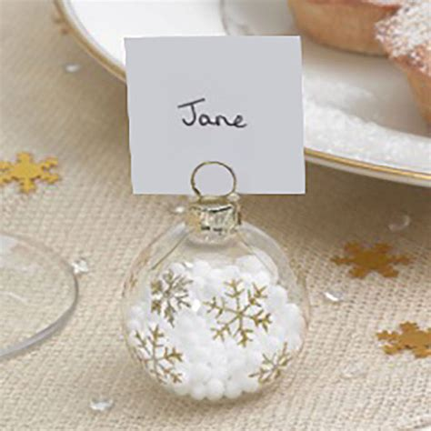 christmas baubles name holders gold snowflake bauble place name holders by postbox notonthehighstreet
