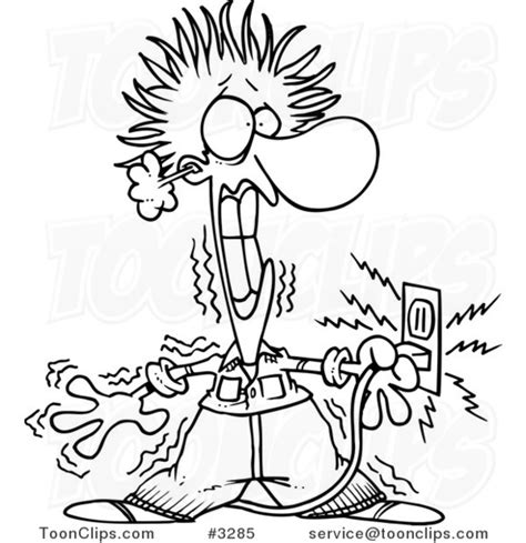11271 electrician clipart black and white black and white line drawing of an electrician