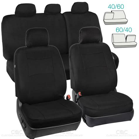 Bench Seat Covers For Cars by Black Car Seat Covers Set 5 Headrests 60 40 Split