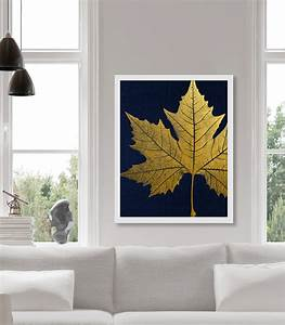 Gold leaf art print sycamore faux foil wall